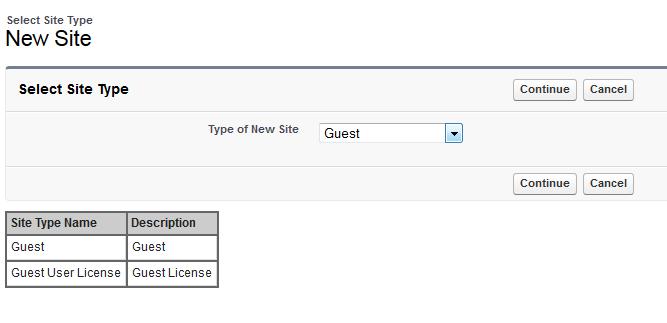 Site Type Screenshot